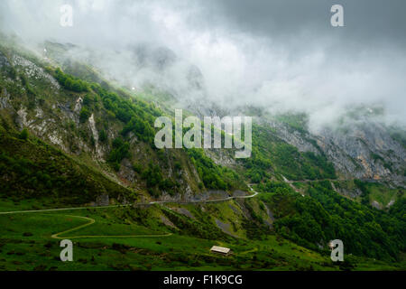 The Road between Col de l Aspin and Aubique, Hautes Pyrenees, France - Stock Photo