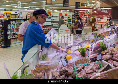 Shopping at French supermarket, Rouillac, Charente Maritime, France - Stock Photo