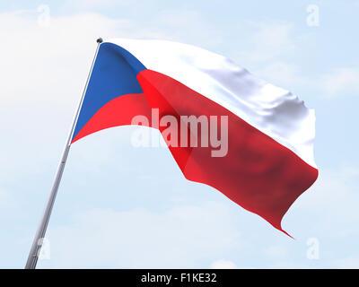 Czech Republic flag flying on clear sky. - Stock Photo