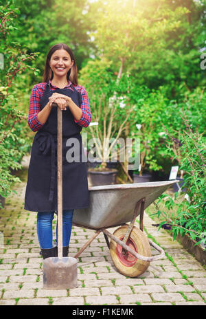 Smiling young woman transplanting nursery stock standing with a potted plant in a wheelbarrow in the greenhouse - Stock Photo