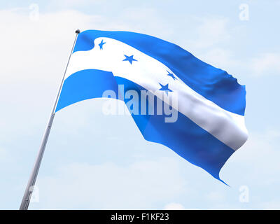 Honduras flag flying on clear sky. - Stock Photo