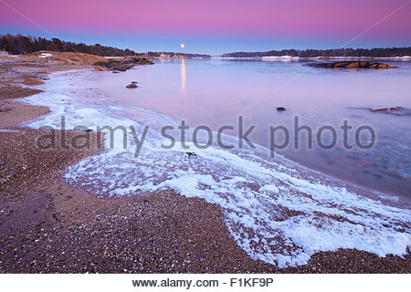 Beautiful winter evening at Oven in Råde, by the Oslofjord, Østfold, Norway. - Stock Photo
