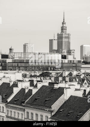 Warsaw city center seen from the Old Town. - Stock Photo