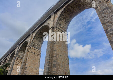 Viaduct over the River Rance Dinan, Brittany, France - Stock Photo