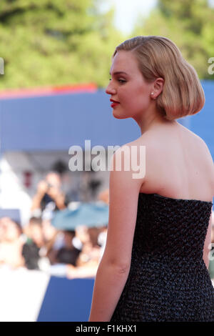 Venice Lido, Italy. 3rd September, 2015. Actress Odessa Young at the gala screening for the film Looking For Grace - Stock Photo