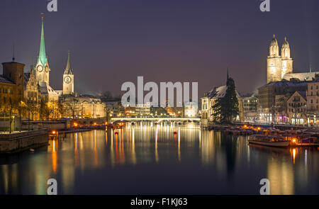 A panorama of Zurich on a winter night - Stock Photo