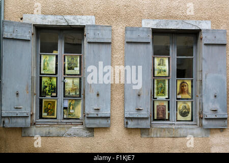 Windows at Lourdes, Hautes Pyrenees, France - Stock Photo