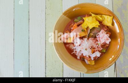 Yen ta four, Thai Noodle with vintage table - Stock Photo