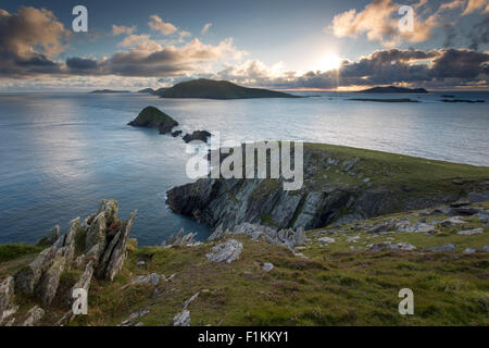 Blasket Islands at sunset from Dunmore Head, Dingle Peninsula, County Kerry, Republic of Ireland - Stock Photo
