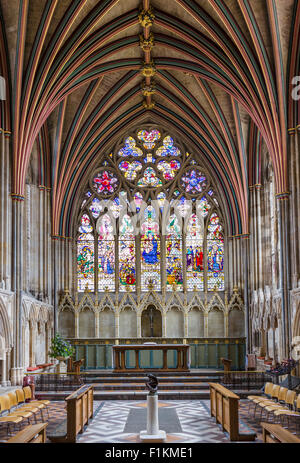 Stained glass window in the Lady Chapel in Exeter Cathedral, Exeter, Devon, England, UK - Stock Photo
