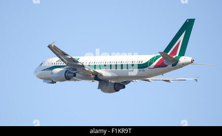 Alitalia Airbus a320 EI-EID taking off from London Heathrow Airport LHR - Stock Photo