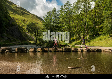 Kids crossing Stepping Stones with the family dog, Peak District, UK - Stock Photo