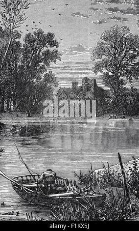 19th Century view of am angler on the River Thames as it flows passed Medmenham Abbey, Buckinghamshire, England. - Stock Photo
