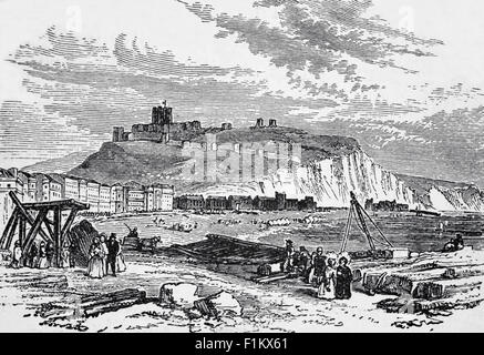 The White Chalk Cliffs of Dover, And Dover Port, Kent, England - Stock Photo