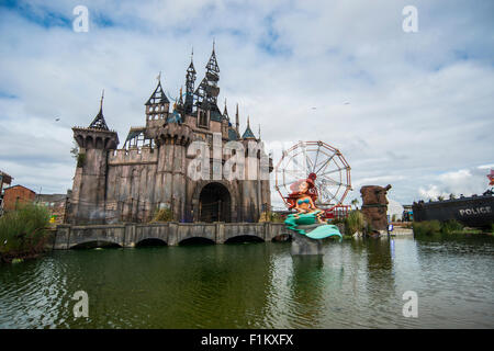 Banksy's Dismaland Bemusement Park on the sea front at Weston-Super-Mare in Somerset. - Stock Photo