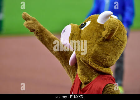 Zurich, Switzerland. 03rd Sep, 2015. Meeting mascot Cooly cheers as Swiss local idol Kariem Hussein (SUI) wins the - Stock Photo