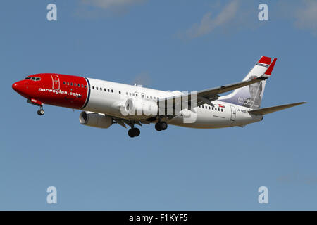 Norwegian, Boeing 737-800, LN-NGD, flight DY3661, from Alicante, Spain, on final approach to Copenhagen Airport, - Stock Photo