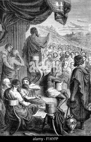 Herodotus, an ancient Greek historian Reading History at a Public Festival, He was born in Halicarnassus, Caria - Stock Photo