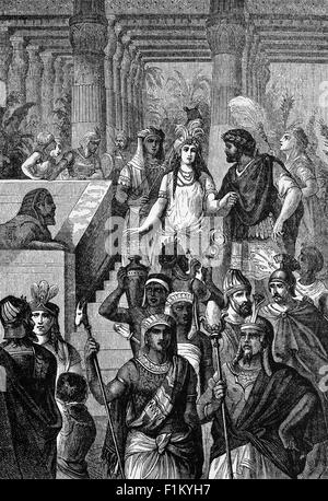 Cleopatra VII Philopator, known as Cleopatra, Last pharaoh of Ancient Egypt with Mark Antony in the first Century - Stock Photo
