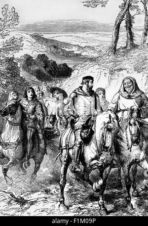 A Scene in Kent from the Canterbury Tales, Written by Geoffrey Chaucer (1328 - 1400) - Stock Photo