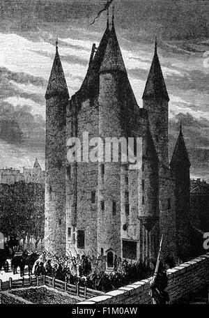 The Royal Family of Louis XVI brought as prisoners to the 'Temple' a medieval fortress in Paris, During the French - Stock Photo