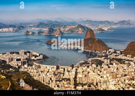 Spectacular aerial view over Rio de Janeiro as viewed from Corcovado. - Stock Photo