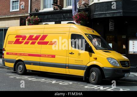 DHL van, DHL Express van delivering in Salisbury - Stock Photo