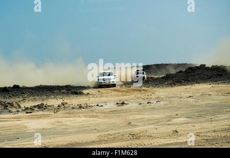 An expedition in the Danakil Depression in Ethiopia. - Stock Photo