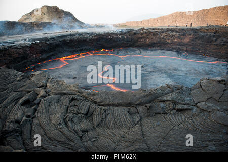 Erta Ale is an active volcano in the Danakil Depression in north eastern Ethiopia. - Stock Photo
