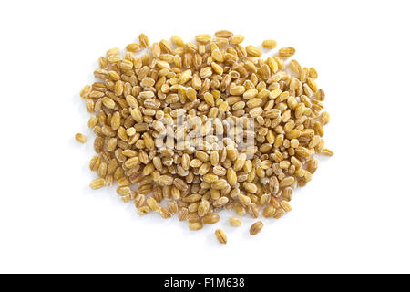 Pearl barley seeds from above isolated on a white background - Stock Photo