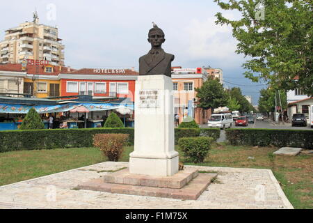 Statue of Avni Rustemi, Sheshi Avni Rustemi, Tirana, Albania, Balkans, Europe - Stock Photo