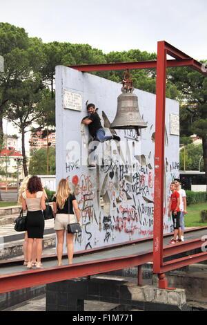 Peace Bell installation, Pyramid, Bulevardi Dëshmorët e Kombit, Tirana, Albania, Balkans, Europe - Stock Photo