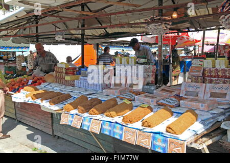 Tobacco at Central Market (aka New Market), Sheshi Avni Rustemi, Tirana, Albania, Balkans, Europe - Stock Photo