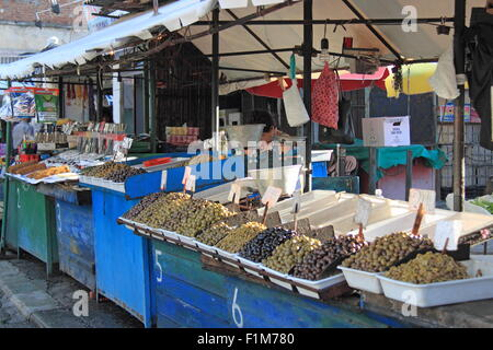Olives at Central Market (aka New Market), Sheshi Avni Rustemi, Tirana, Albania, Balkans, Europe - Stock Photo
