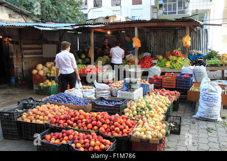 Fruit and vegetables at Central Market (aka New Market), Sheshi Avni Rustemi, Tirana, Albania, Balkans, Europe - Stock Photo