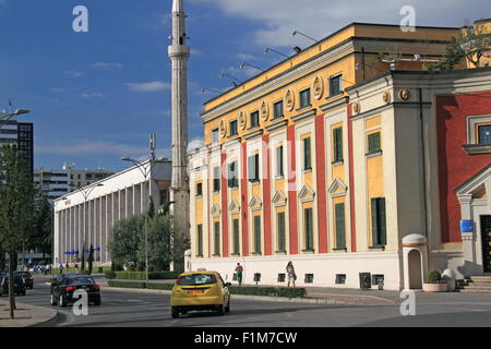 National Theatre of Opera and Ballet (left) and City Hall, Skanderbeg Square, Tirana, Albania, Balka - Stock Photo