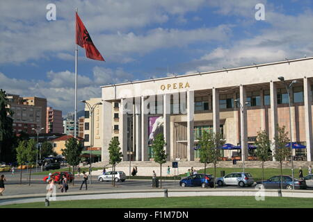 National Theatre of Opera and Ballet, Palace of Culture, Skanderbeg Square, Tirana, Albania, Balkans, Europe - Stock Photo