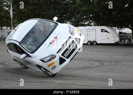 Paul Swift stunt driver Car Fest North 2015 - Stock Photo