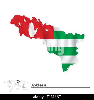 Map of Abkhazia with flag - vector illustration - Stock Photo