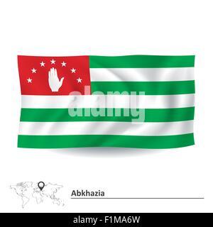 Flag of Abkhazia - vector illustration - Stock Photo