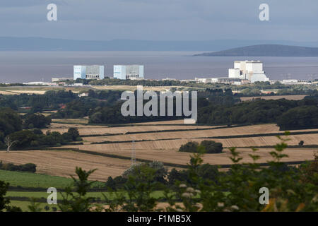 Hinkely Point nuclear power plant. A station to the left, B station to the right. Viewed from the Quantock Hills. - Stock Photo