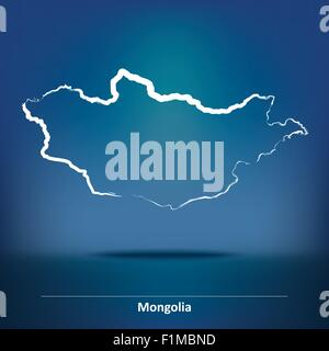 Doodle Map of Mongolia - vector illustration - Stock Photo