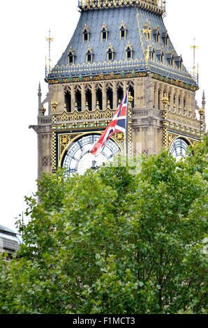 London, England, UK. Big Ben and a union jack seen from Whitehall - Stock Photo