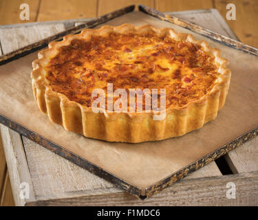 Quiche lorraine. French egg and bacon tart. France Food - Stock Photo