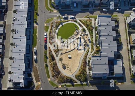 Playground at Stonefields housing development, Mount Wellington, Auckland, North Island, New Zealand - aerial - Stock Photo