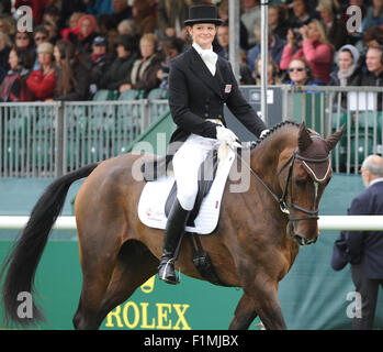 Stamford, UK. 4th September, 2015. Land Rover Burghley Horse Trials 2015, Stamford England. Sophie Jenman (GBR) - Stock Photo