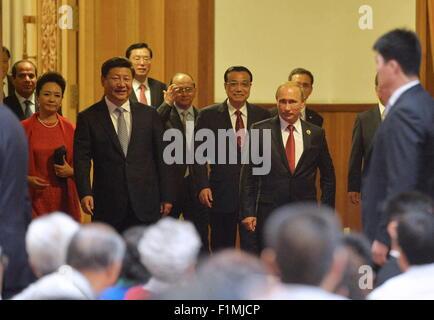 Beijing, China. 3rd Sep, 2015. China's President Xi Jinping with wife Peng Liyuan, Chinese Premier Li Keqiang and - Stock Photo
