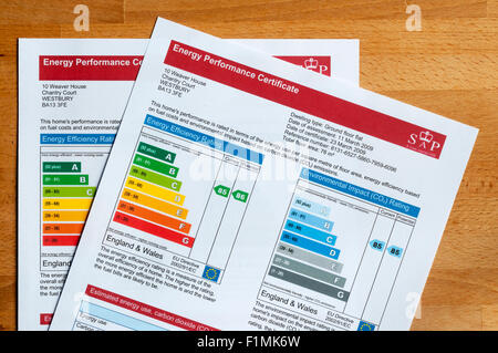 Pair of Energy Performance Certificates introduced in 2007 - part of Home Information Pack or HIPs produced when - Stock Photo