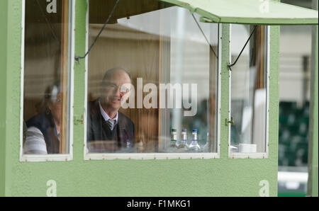 Burghley House, Stamford, UK, 4th September 2015. BBC Cricket Correspondent Jonathan Agnew is invited to join the - Stock Photo