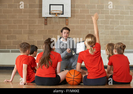 Coach Giving Team Talk To Elementary School Basketball Team - Stock Photo